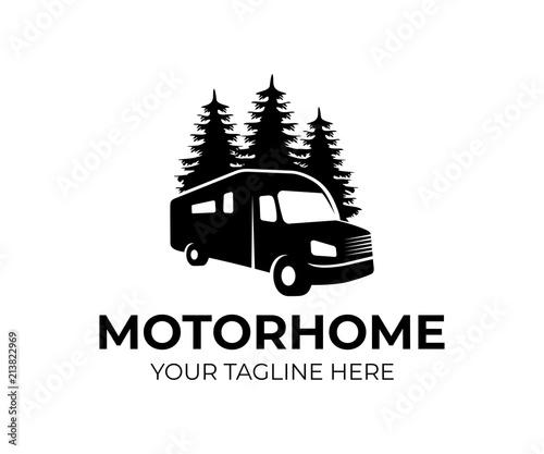 Fotografija Motorhome or recreational vehicle (RV) camper car, logo template
