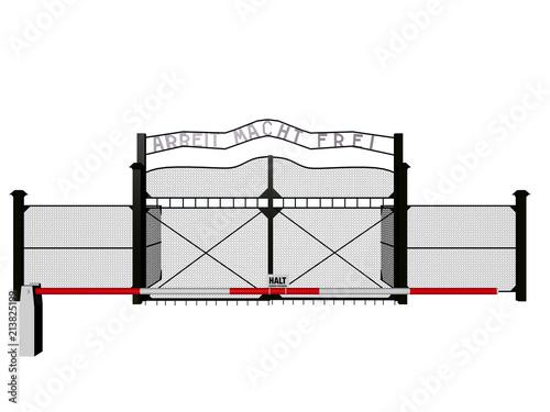 Gefangenenlager Mit Tor Und Schranke Buy This Stock Illustration