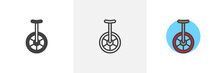 Unicycle Icon. Line, Solid And...