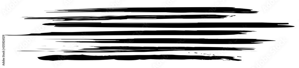 Fototapeta Header mit horizontalen, schwarz-weißen Pinselstrichen / Vektor