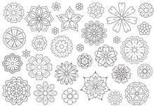 Outline Doodle Flowers For Adult Coloring Book. Beautiful Floral Background For Color Artwork. Monochrome Zentangle Backdrop, Summer Flower Drawing. Colouring Line Illustration.