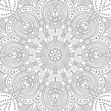Vector Uncolored Pattern For Coloring Book. Mandala.