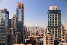 New York City Manhattan Cityscape Of Buildings At Midtown On Sunny Day