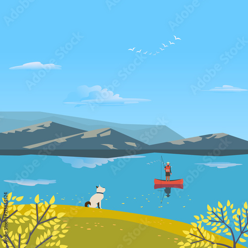 Foto op Canvas Blauw Autumn nature landscape. Colorful cartoon. Fall season leisure banner background. Fisherman on calm river water, dog on yellow autumn hill. Alps mountain valley lake view. Outdoors vector Illustration