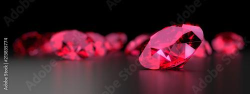 Fotomural  Ruby Gem Diamond dark reflection on gradient background 3d rendering