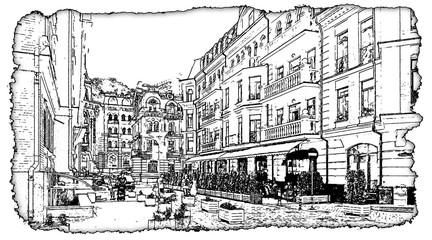 Artwork  black and white drawing Vozdvizhenka Kiev illustration