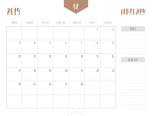 Vector Of Calendar 2019 ( February ) In Simple Clean Table Style With Goals And To Do List Box; Full Size 21 X 16 Cm; Week Start On Sunday.