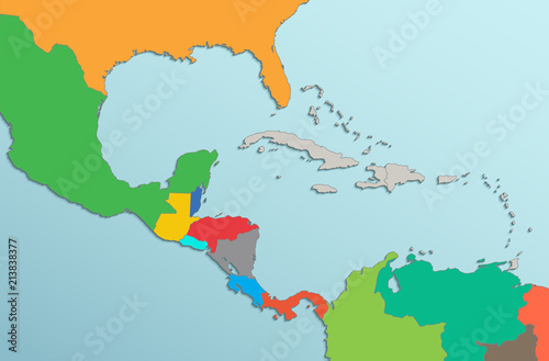 Caribbean islands Central America map state names card colors 3D raster Wallpaper Mural