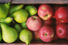 Ripe Green Pears And Red Apple...