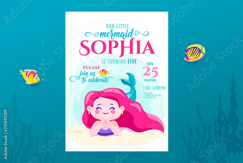 Photographie  Mermaid birthday cute invite card design for little princess