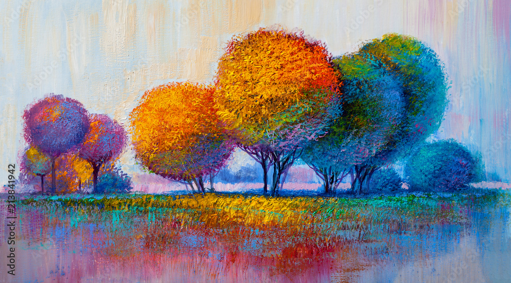 Fototapeta Trees, oil painting, artistic background