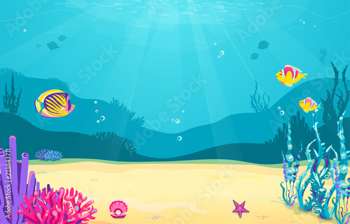 Poster Turquoise Underwater cartoon background with fish, sand, seaweed, pearl, jellyfish, coral, starfish. Ocean sea life, cute design