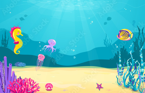 Photo Stands Turquoise Underwater cartoon background with fish, sand, seaweed, pearl, jellyfish, coral, starfish, octopus, sea horse. Ocean sea life, cute design