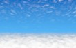 Blue sky background with white clouds. Cumulus white clouds in the clear blue sky in the morning. 3D illustration