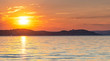 Sunset over lake Balaton in summer