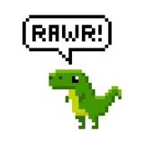 Fototapeta Dinusie - Pixelated cartoon dinosaur saying rawr - isolated vector illustration