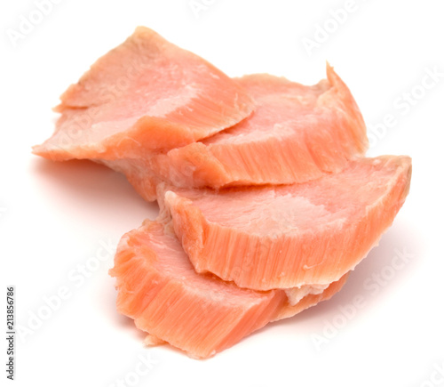 smoked salmon segments isolated on white background cutout Tableau sur Toile