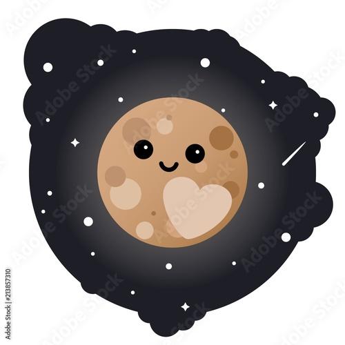 Cuadros en Lienzo Cartoon dwarf planet pluto in the sky - isolated vector illustration