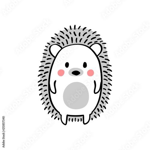 Obraz na plátne Cartoon doodle cute hedgehog - isolated vector illustration