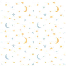 Starry Sky And Moon Hand Drawing Vector Seamless Pattern. Texture For Textile, Scrapbook, Wrapping Paper.
