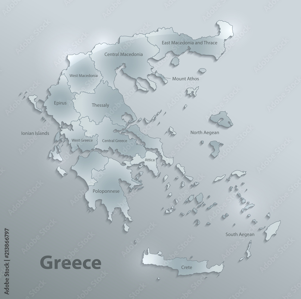 Greece map separate region individual names glass card 3D ...