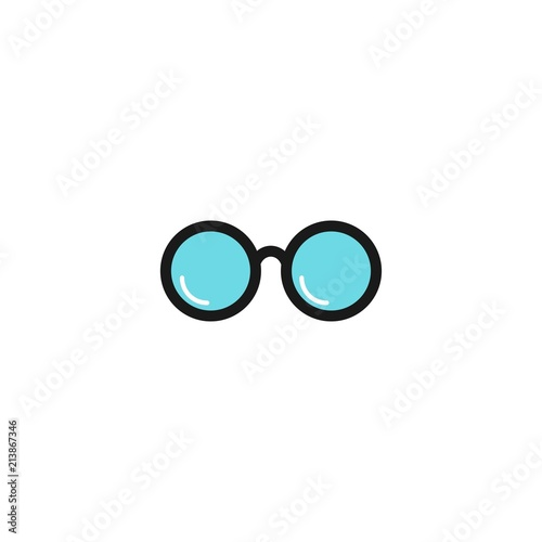 Fotografija  Blue round flat Hipster Glasses icon