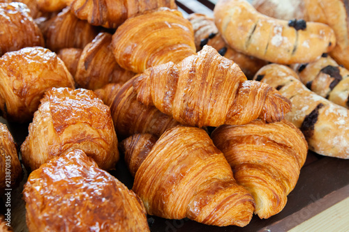 Obraz na plátne Assortment of delicious and buttery croissants made by pastry chef