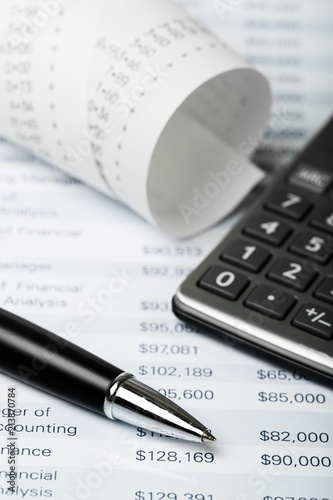 Calculator and Paper Tape with Financial Figures Wallpaper Mural