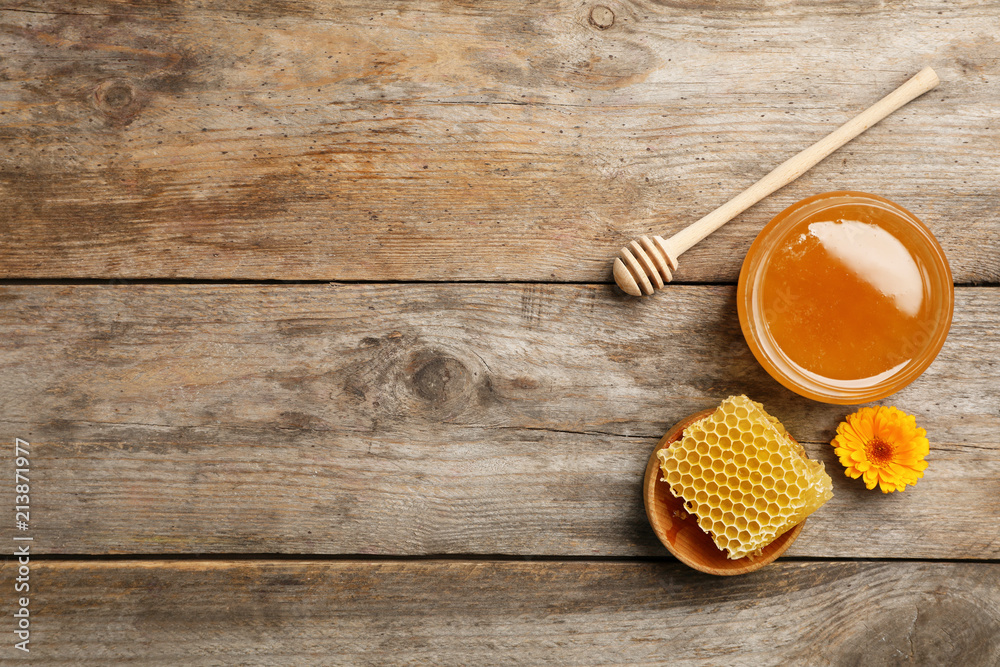 Fototapety, obrazy: Flat lay composition with fresh honey on wooden background
