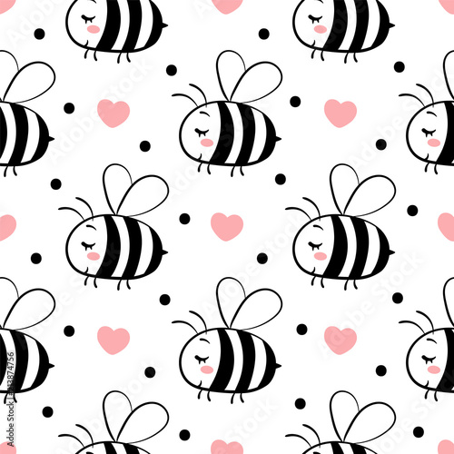 Cotton fabric Vector seamless pattern with bees in love