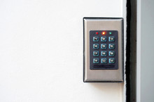Secure Password On Keyboard For Opening Home House Door. Password Code Security Keypad System Protected In Public Building. The Security Code Combination To Unlock The Door