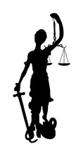 Statue Of Justice Symbol Vector Silhouette Isolated On White Background, Legal Law.  Justitia The Roman Goddess Of Justice. Goddess Themis Blindfolded  With Sword Of Justice And Weights In Her Hands.