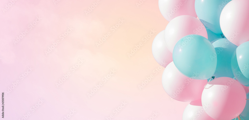 Fototapety, obrazy: Beautiful panoramic background with pink and blue balloons