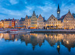 canvas print picture - Twilight view of Ghent, Flanders, Belgium