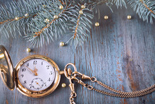 Vintage Watch On A Festive Background Showing Five To Twelve