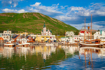 Historic fishing town of Husavik at sunset, Iceland