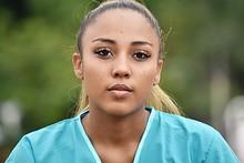Serious Hispanic Female Nurse