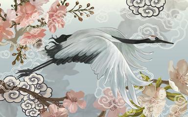 Fototapeta Zwierzęta Flying elegant white Japanese crane