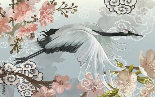 Latający elegancki biały japoński żuraw