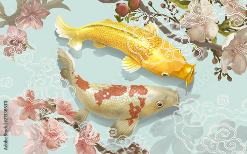 Two Japanese Koi fish swimming Canvas Print