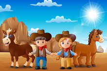 Cartoon Cowboy And Cowgirl With Animals In The Desert