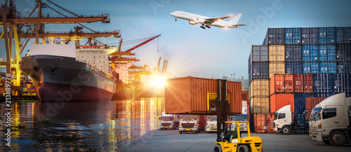 Fotografering Logistics and transportation of Container Cargo ship and Cargo plane with workin