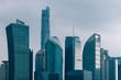 shanghai landmarks complex against sky,China,Asia.