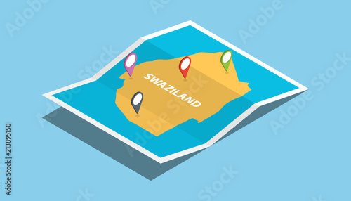 swaziland africa explore maps with isometric style and pin location ...