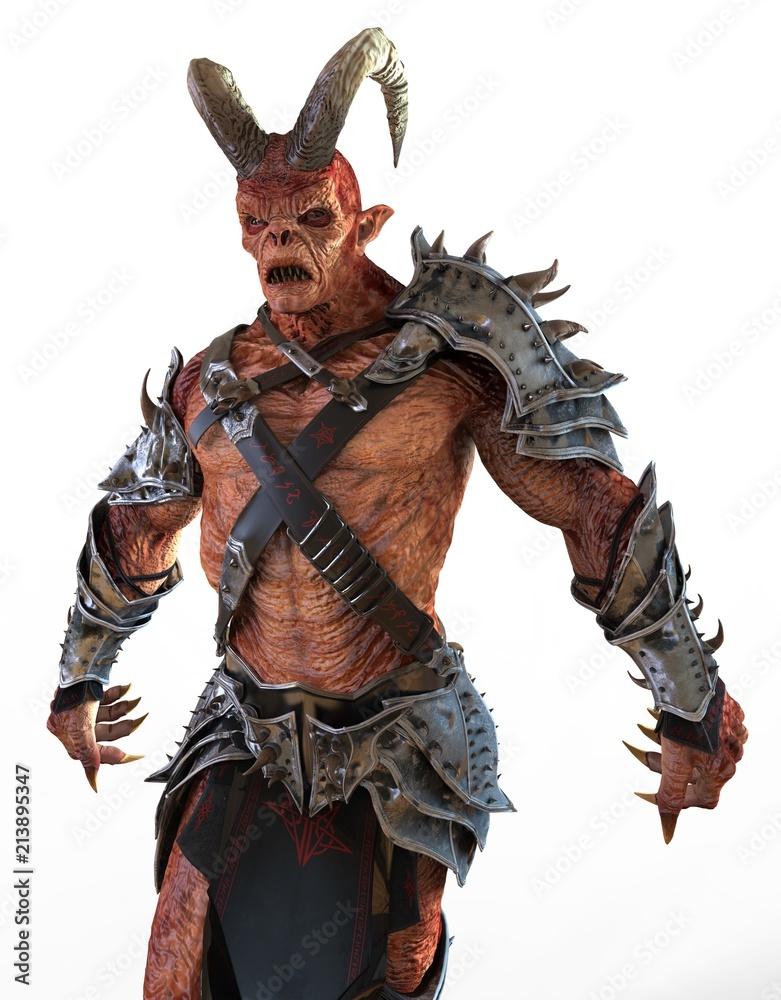 3D illustration demon monster isolated on white background