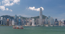 Hong Kong Urban Cityscape With Sunny Day