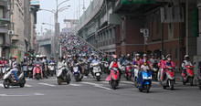 Crowded Of Motorbike In Taipei City At Outdoor