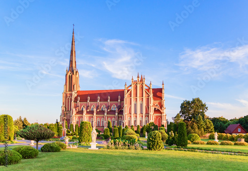 Recess Fitting Temple Superb beautiful Church of the Holy Trinity in Gerviaty, Grodno region, Belarus