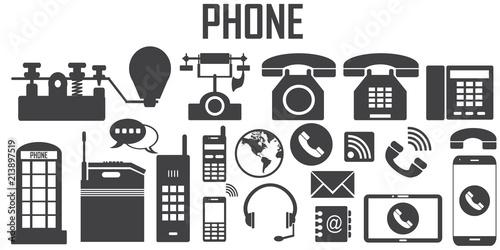 phone retro old vintage flat icons  mono vector symbol - Buy