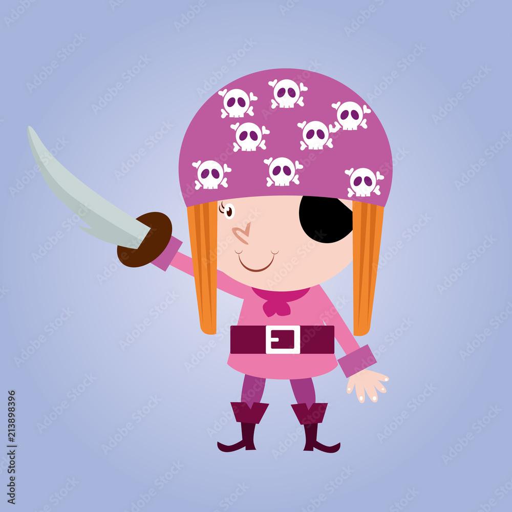Fototapeta happy cute girls pirate seaman robber sailor burglar buccaneer cartoon character